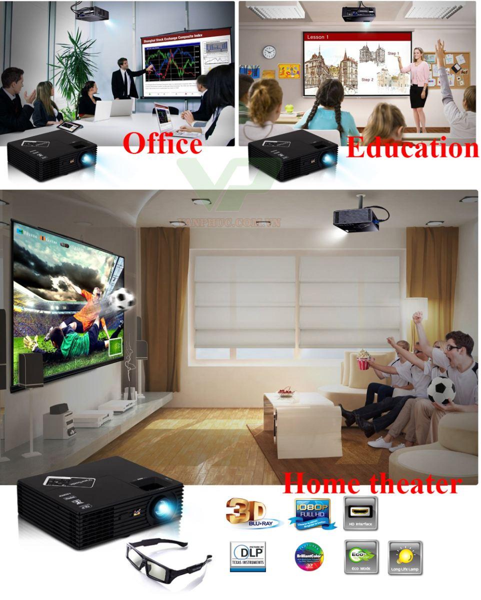 Trải nghiệm 3D trực tiếp từ đĩa Bluray 3D ứng dụng trong giải trí, giảng dạy, văn phòng... cùng máy chiếu Viewsonic pjd7820hd