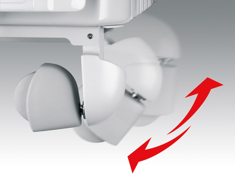 Bánh xe của máy sưởi dầu Delonghi TRD 1025 có thể gập lại chống trượt