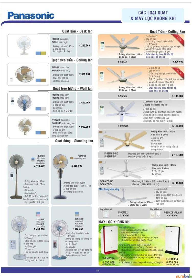 Catalog của quạt trần Panasonic