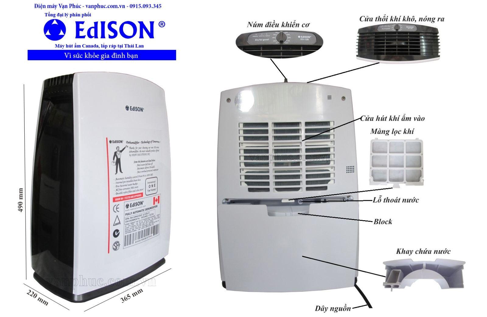 Cấu tạo của máy hút ẩm Edison ED-12B